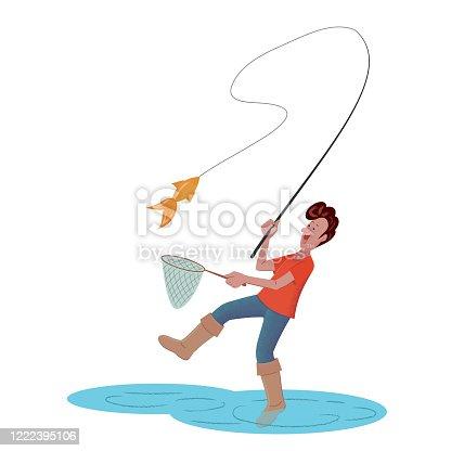 Cheerful fisherman caught a fish