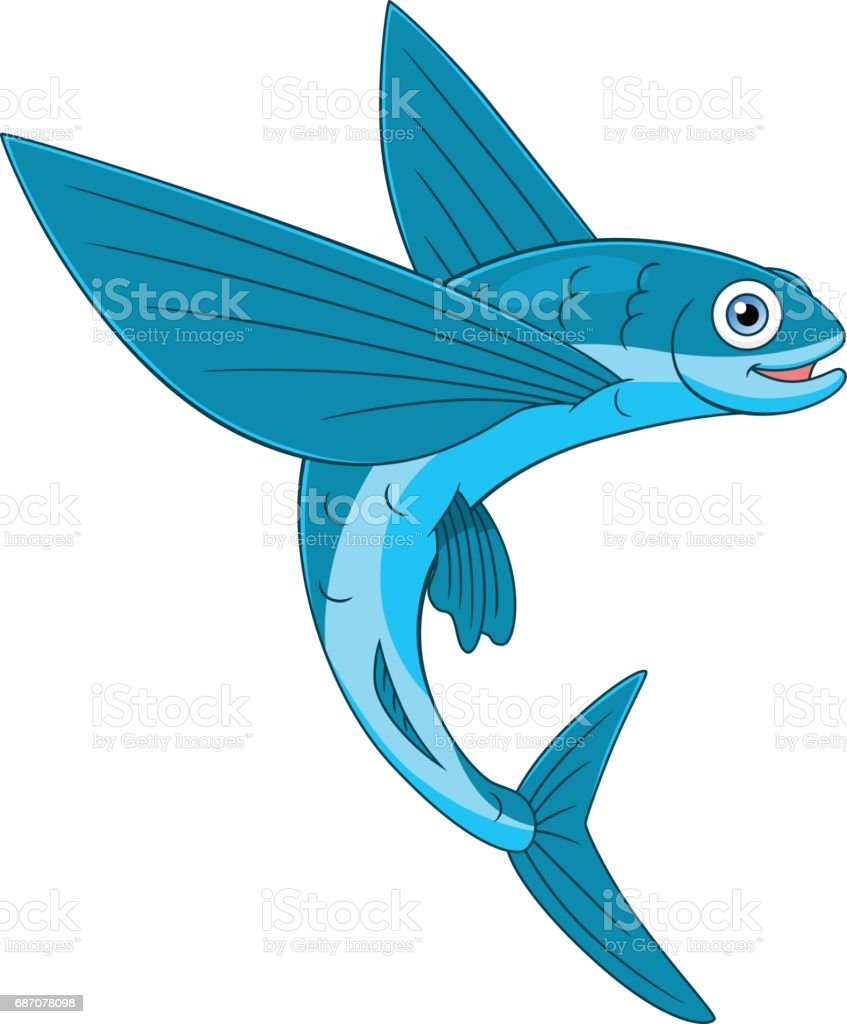 Cheerful flying fish stock vector art 687078098 istock for Flying fish company