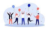 istock Cheerful friends having fun at birthday party 1250665481