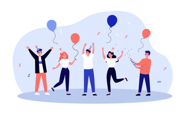 Cheerful friends having fun at birthday party Cheerful friends having fun at birthday party. Happy people dancing with air balloons and confetti. Excited office girls and guys celebrating success together happy birthday stock illustrations