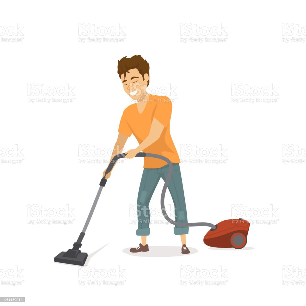 neşeli komik adam, ev işleri, ev, temizlik vakum vektör illüstrasyon izole - Royalty-free Adamlar Vector Art