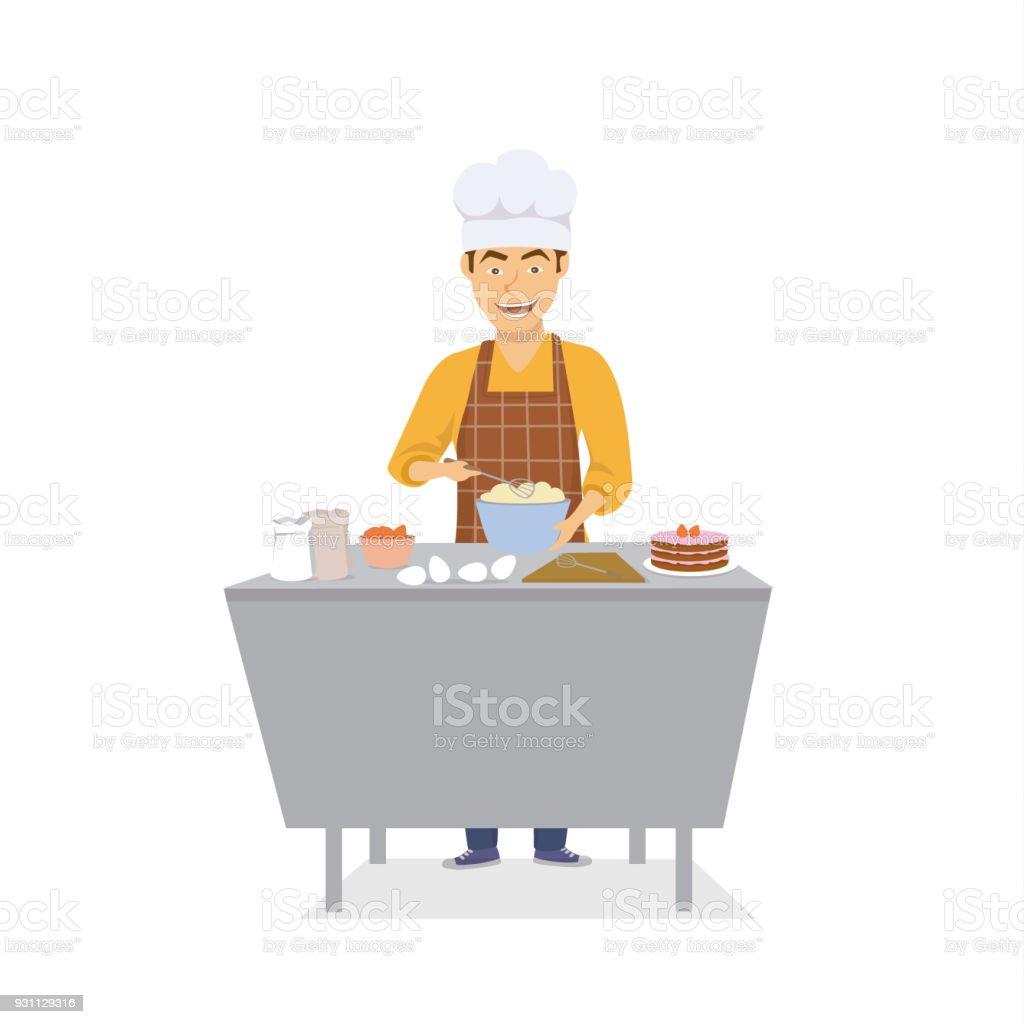 Frohlich Lustige Mann Koch Kochen Backen In Der Kuche Kuchen