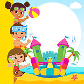 Cheerful Girl And Boy In Jumping Bouncy Castle. Summertime Template With Space For Text. Bouncy Castle For Kid Active Holidays Vector Concept Banner. Vector Summer Design.