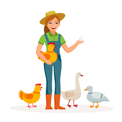 Cheerful Girl Farmer Is Holding An Egg And Cute Hen In ...