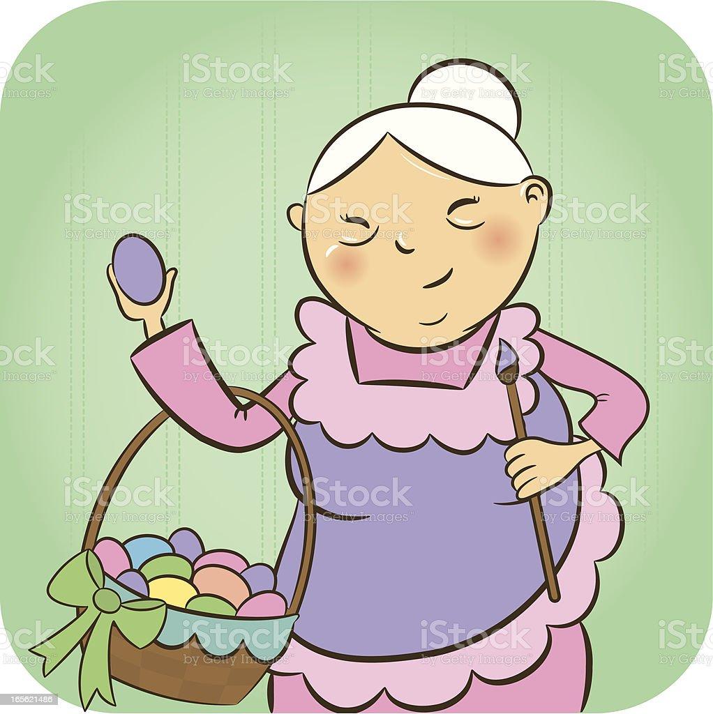 cheerful grandma with easter eggs stock vector art 165621486 istock