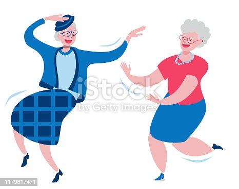 Cheerful grandmothers dance incendiary dance. Vector characters on the theme of happy old age and active longevity. Vector illustration in a flat style in red and blue colors.