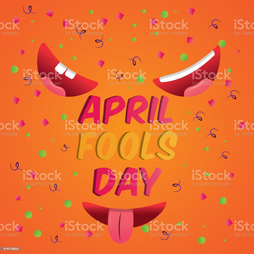 Cheerful Greeting Card Smiling Mouths April Fools Day Stock Vector