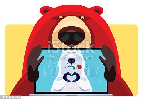 istock cheerful grizzly video chatting with polar bear 1286110654