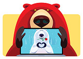 vector illustration of cheerful grizzly video chatting with polar bear