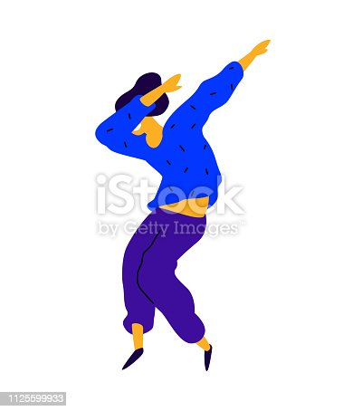 Cheerful guy in a blue sweatshirt. Vector. Illustration of a dancing young man. Internet meme. Character for the dance studio. Flat style. Company logo. Positive happy person.
