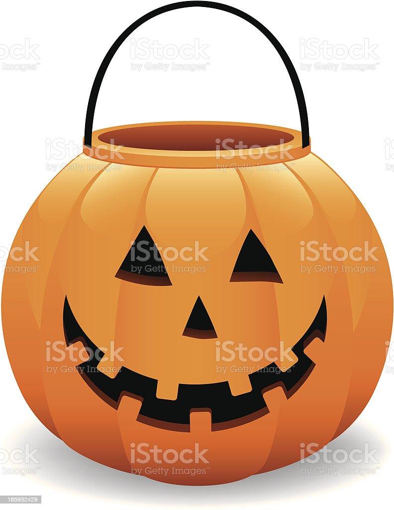cheerful halloween pumpkin jack o lantern bucket vector