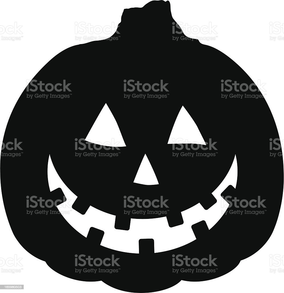 Cheerful Halloween Pumpkin Jack O' Lantern Vector Illustration Silhouette royalty-free stock vector art