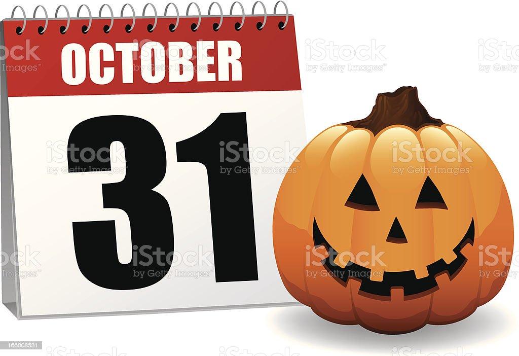 Cheerful Halloween Pumpkin Jack O' Lantern Vector Illustration Calendar royalty-free stock vector art