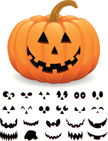 Cheerful Halloween Pumpkin Jack  O' Lantern Vector Illustration