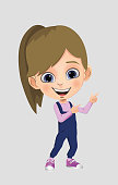 Cheerful happy girl with a friendly face standing with outstretched arms.  Cartoon style child avatar flat vector character design illustration isolated on white background.