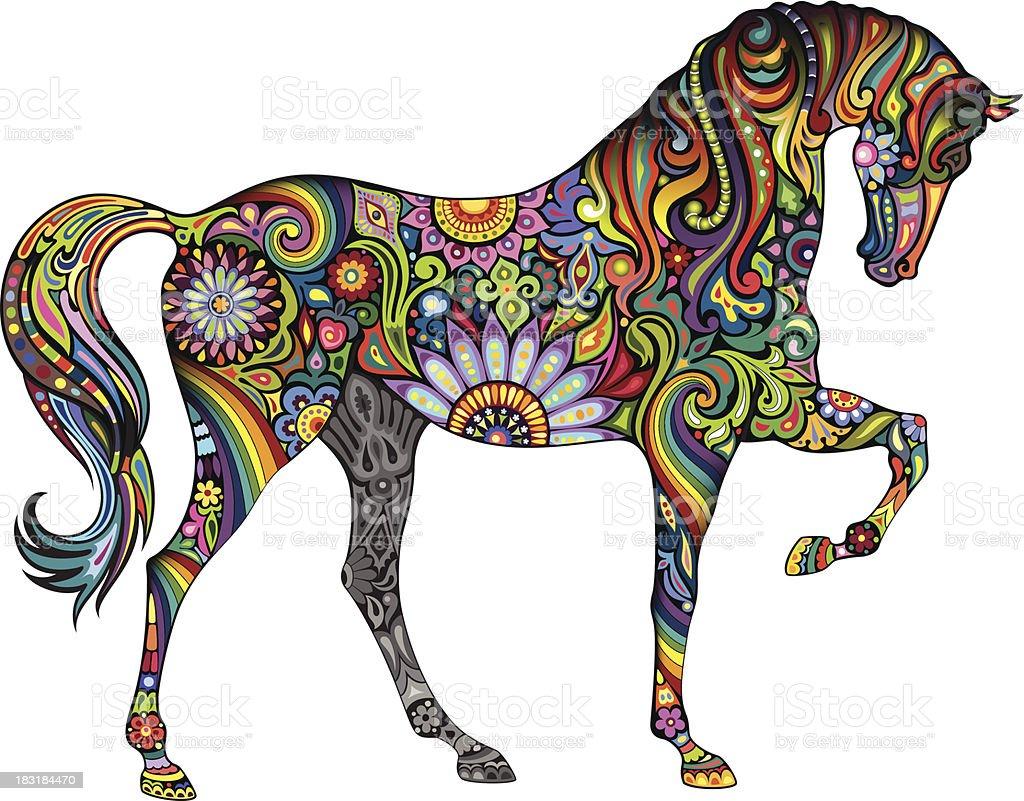 Cheerful horse vector art illustration