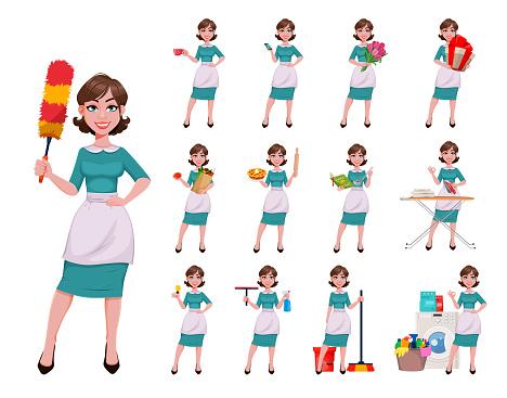 Cheerful housekeeper, mother, beautiful woman