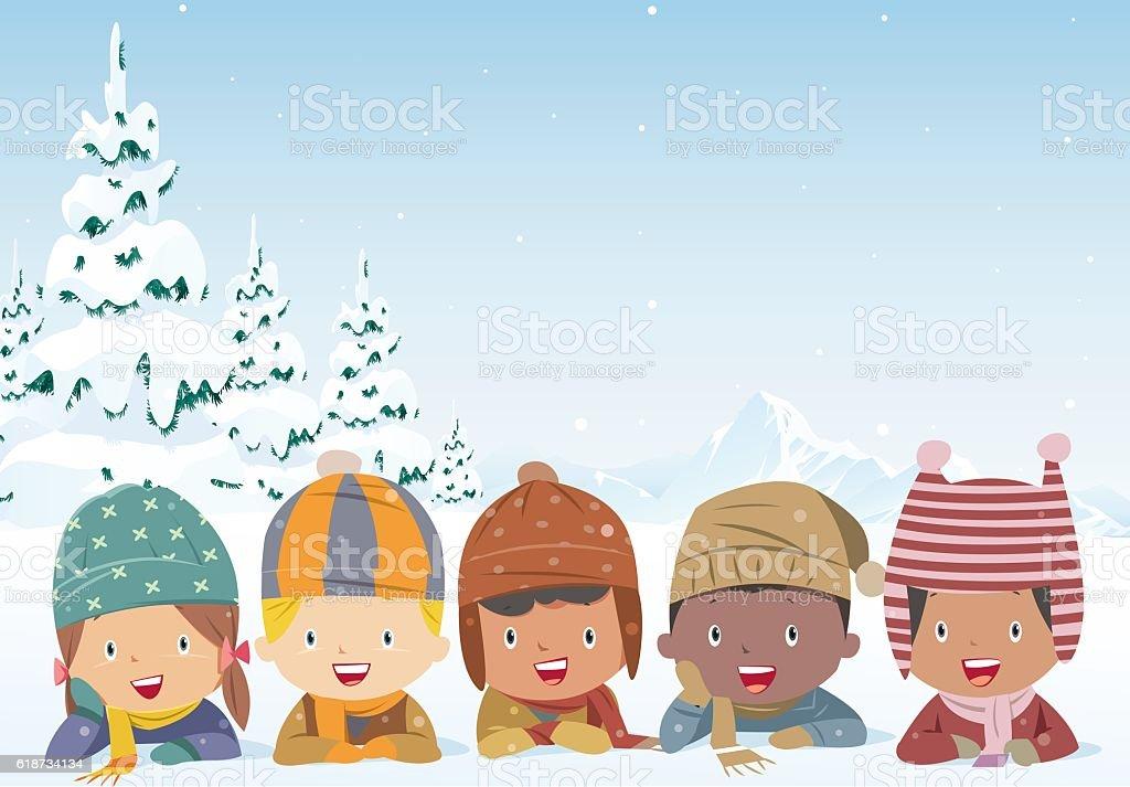 Cheerful kids lying on the snow - ilustração de arte em vetor