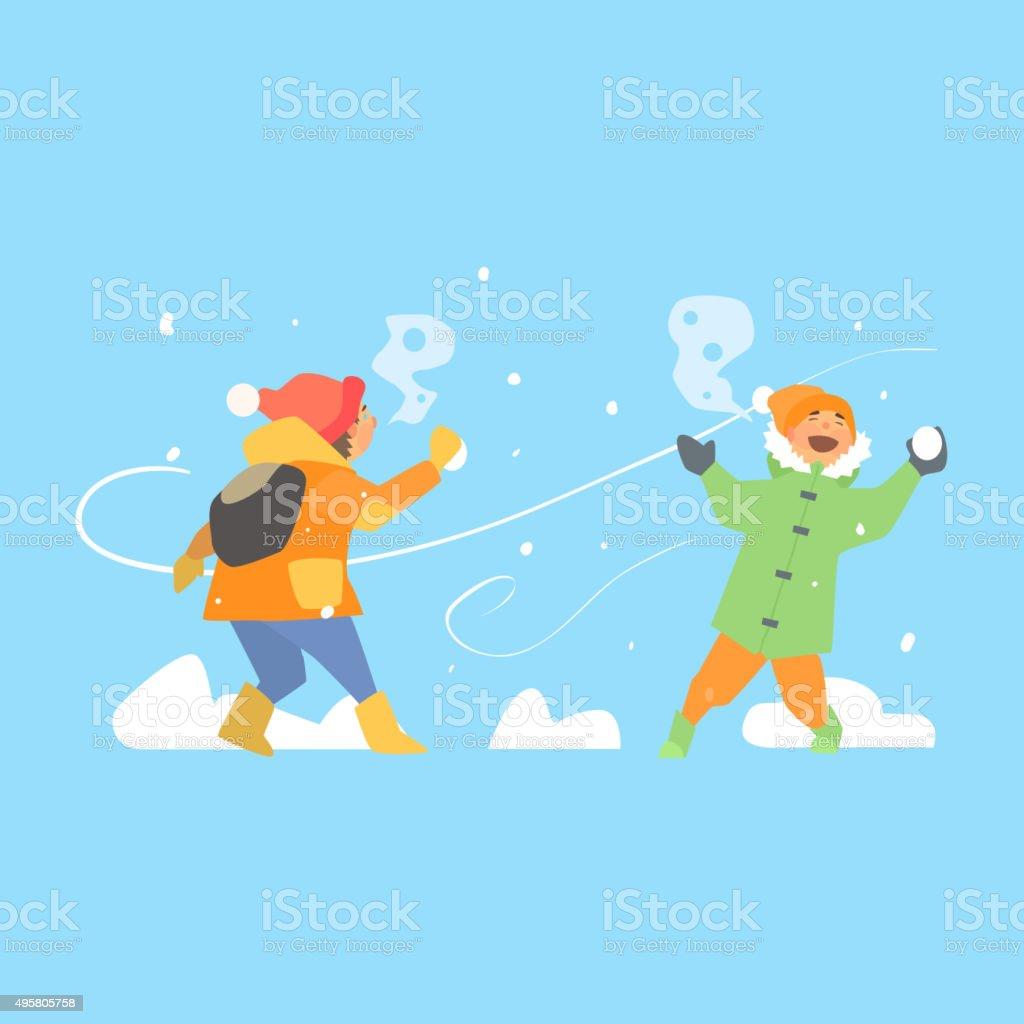 Alegre crianças jogando bolas de neve. TM - ilustração de arte em vetor