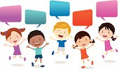 Happy kids jumping with speech bubbles.