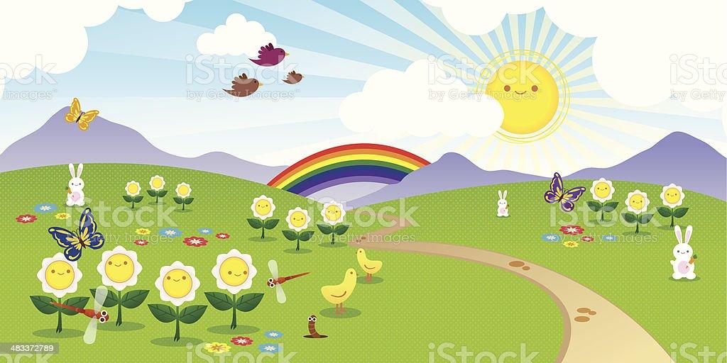 Cheerful landscape vector art illustration