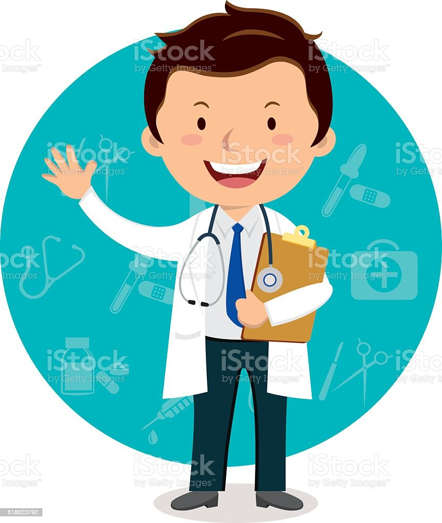 Cheerful male doctor gesturing vector art illustration
