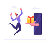Cheerful Man in Festive Hat Holding Champagne Glass Jumping and Rejoice for Getting Gift from Mobile Phone Screen. Online Present for Client, Seasonal Sale, Discount Cartoon Flat Vector Illustration