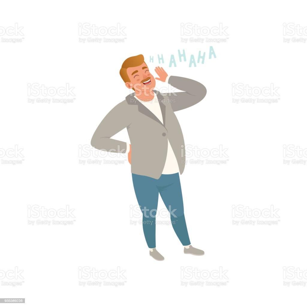 Fröhlicher Mensch laughing out loud, Vektor-Illustration auf weißem Hintergrund – Vektorgrafik
