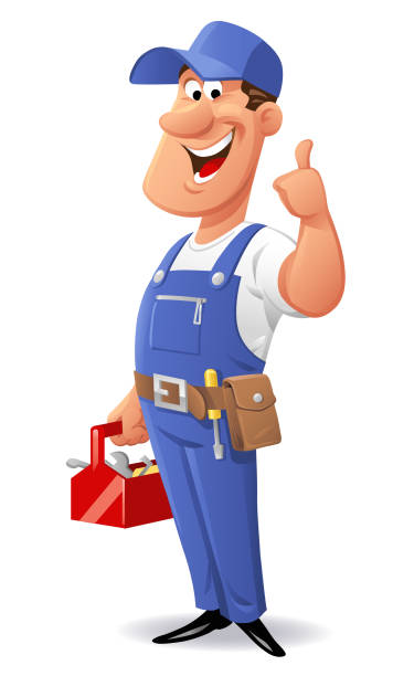 cheerful mechanic - mechanic stock illustrations, clip art, cartoons, & icons