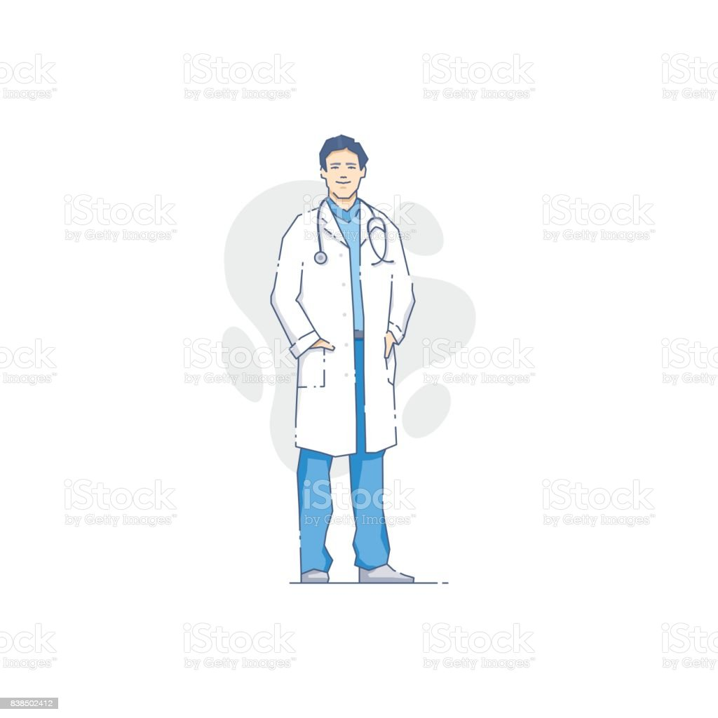 Cheerful medic man with stethoscope vector art illustration