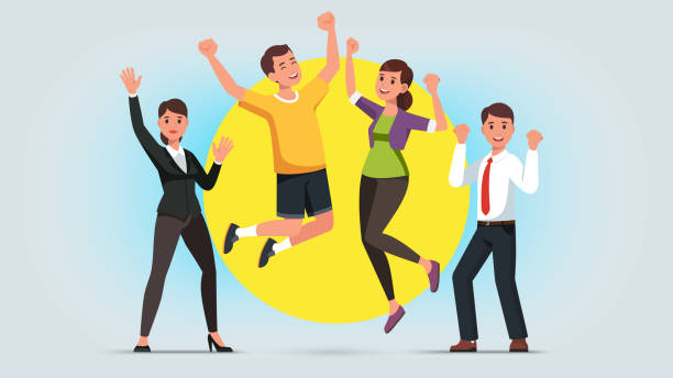 ilustrações de stock, clip art, desenhos animados e ícones de cheerful men and women wearing casual and formal clothes raising hands and jumping. diverse people celebrating business success or win achievement. flat isolated vector character illustration - homem casual standing sorrir