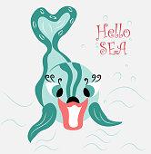 cheerful, modern, cute Dolphin having fun, playing in the sea
