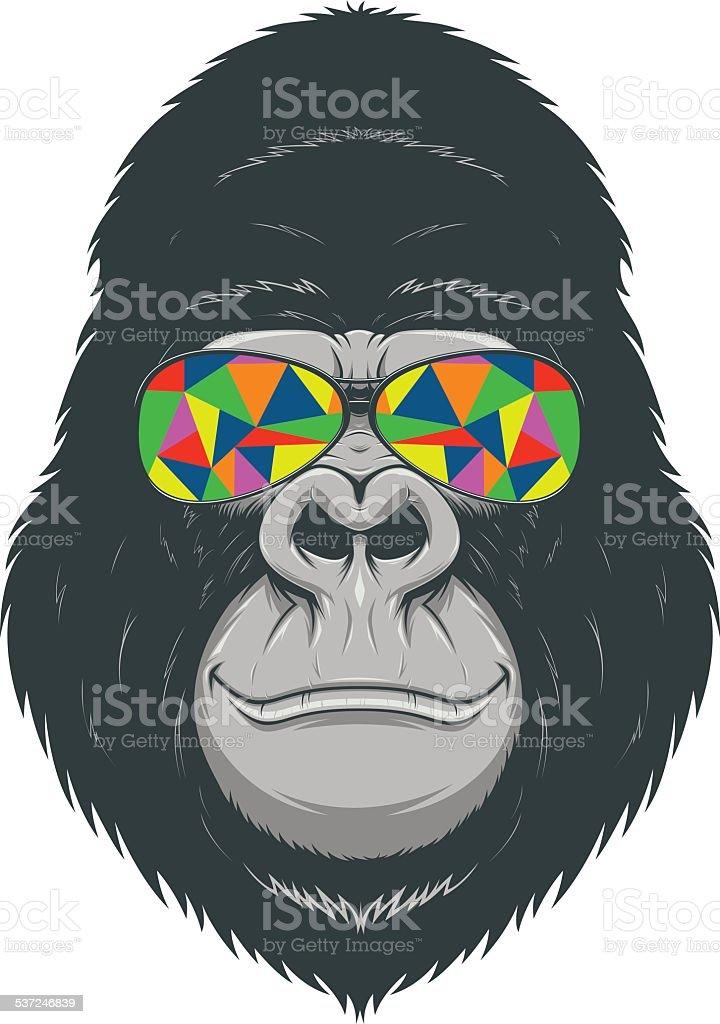 Alegre en mono - ilustración de arte vectorial