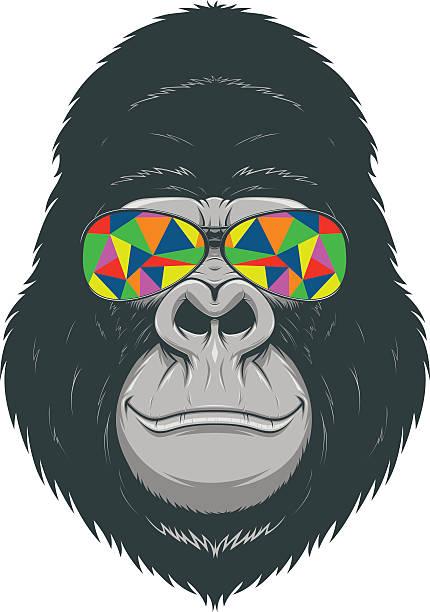 fröhlich monkey - gorilla stock-grafiken, -clipart, -cartoons und -symbole