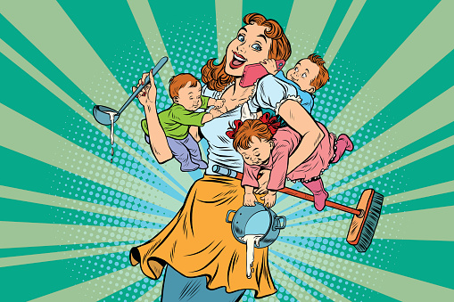 Stay-at-home parent stock illustrations