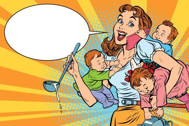 fröhliche mutter mit drei kindern arbeiten - hausfrau stock-grafiken, -clipart, -cartoons und -symbole