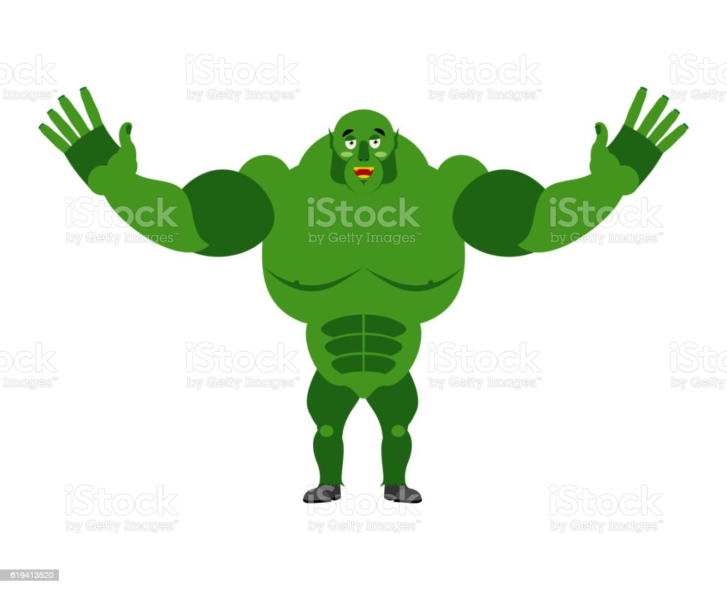 Cheerful ogre spread his arms in an embrace. Good green vector art illustration
