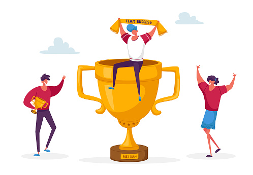 Cheerful People Characters Laughing with Hands Up around of Huge Gold Cup with Man Sitting on Top. Employees Rejoice for New Project Success. Joyful Colleagues Teamwork. Linear Vector Illustration