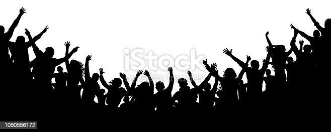 Multitud De Gente Silueta: Ilustración De Multitud De Gente Alegre Aplaudiendo