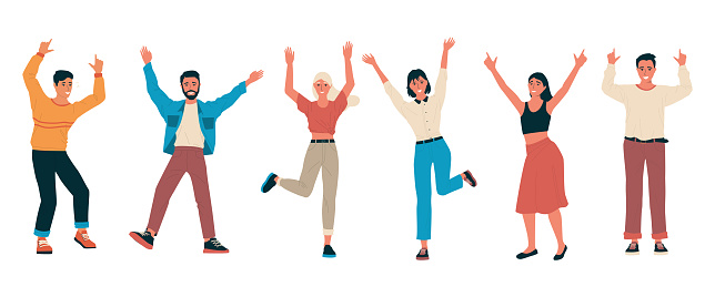 Cheerful people. Group of happy friends standing together with raised hands. Cartoon men and women feel positive emotions. Isolated characters dance or jump. Vector young persons celebrate victory