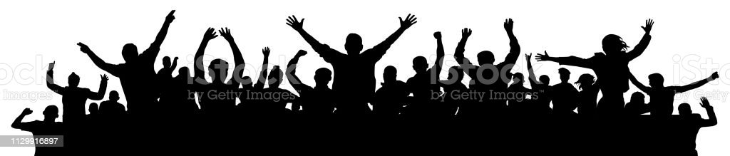 Cheerful people having fun celebrating. Crowd of fun people on party, holiday. Applause people hands up. Emotional event. Silhouette Vector Illustration, banner Cheerful people having fun celebrating. Crowd of fun people on party, holiday. Applause people hands up. Emotional event. Silhouette Vector Illustration, banner Adult stock vector