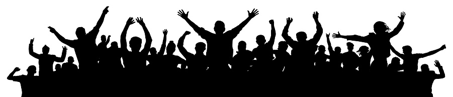 Cheerful people having fun celebrating. Crowd of fun people on party, holiday. Applause people hands up. Emotional event. Silhouette Vector Illustration, banner