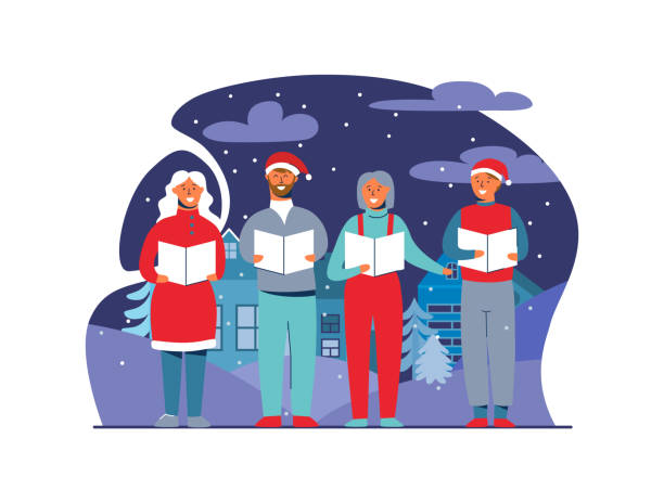 Cheerful People in Santa Hats Singing Christmas Carols. Winter Holidays Characters on Snowy Background. Xmas Singers. Vector illustration Cheerful People in Santa Hats Singing Christmas Carols. Winter Holidays Characters on Snowy Background. Xmas Singers. Vector illustration gospel choir stock illustrations