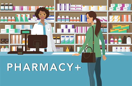 Cheerful pharmacist at drugstore