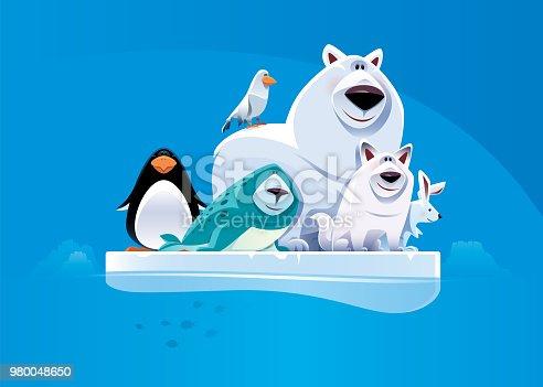 vector illustration of cheerful polar bear and friends standing on iceberg