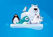 cheerful polar bear and friends standing on ice floe