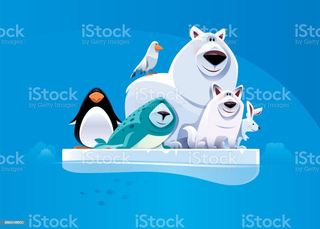 陽気なシロクマと流氷の上に立っての友人 ベクターアートイラスト