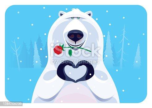 istock cheerful polar bear holding flower 1284205239