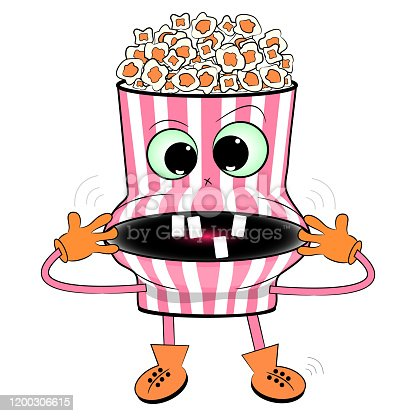 cheerful popcorn cartoon vector illustration. fast food cartoon illustration.