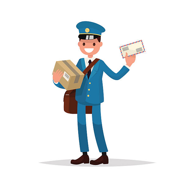 cheerful postman with parcels and letter. vector illustration - postal worker stock illustrations